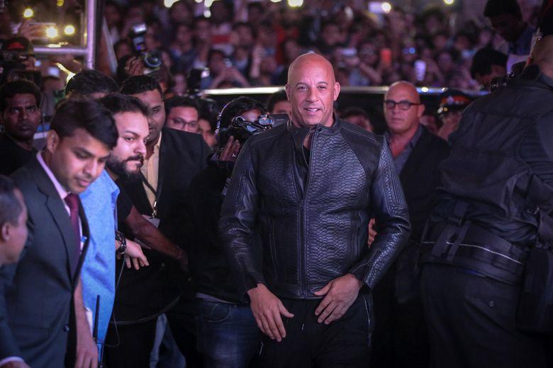 Vin Diesel saat memasuki area acara di Mumbai, India pada Kamis (12/1/2017) waktu setempat. Ritam Banerjee/Getty Images for Paramount Pictures/detikFoto.