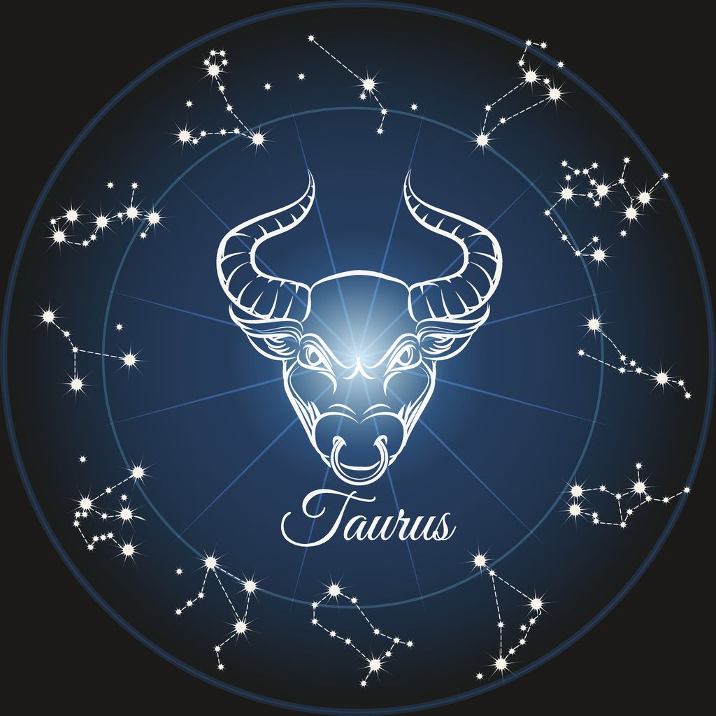 Zodiac sign taurus and circle constellations. Vector illustration