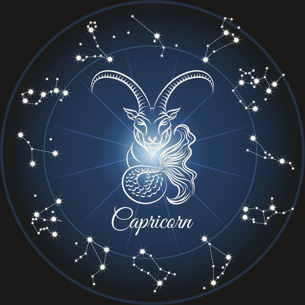 Zodiac sign capricorn and circle constellations. Vector illustration