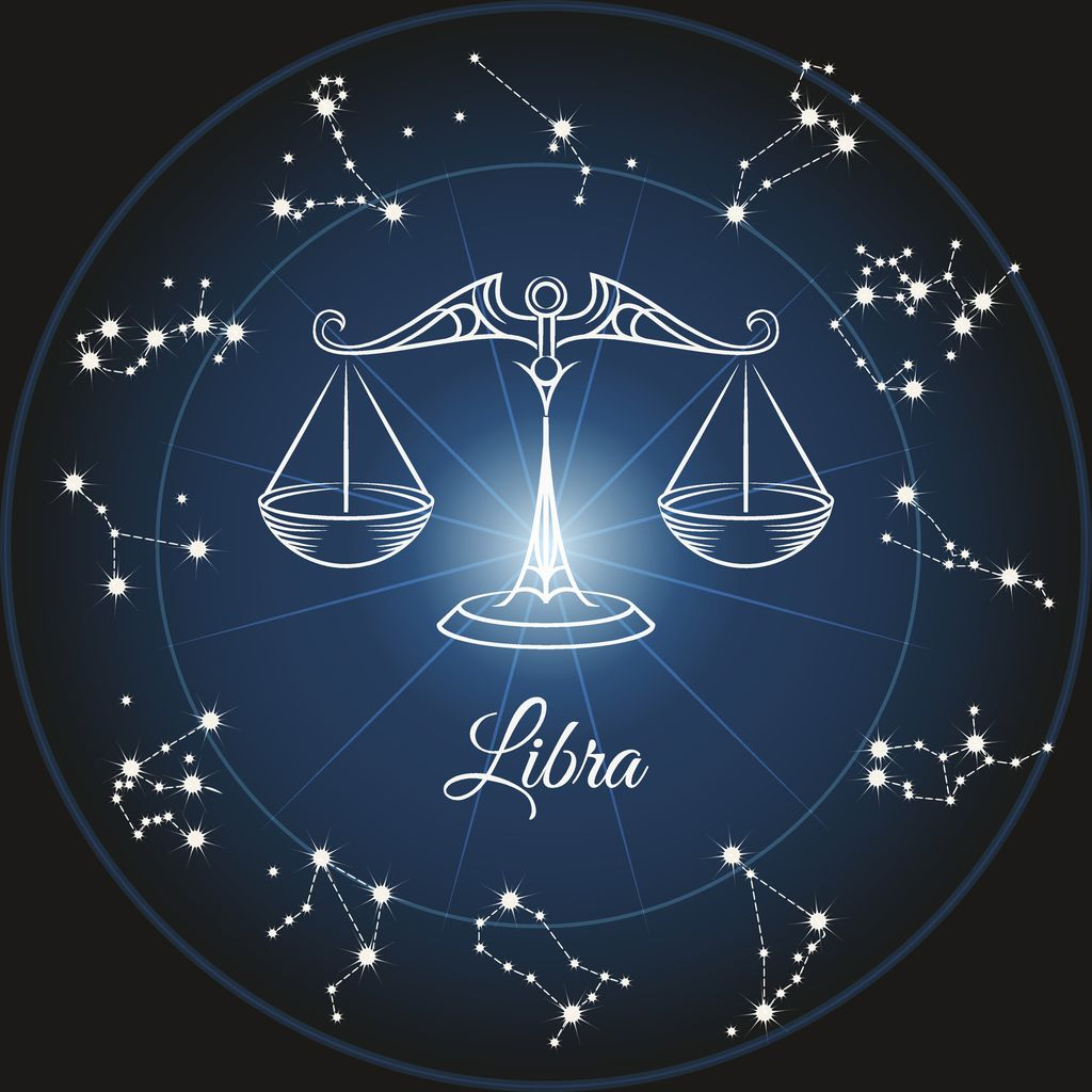 Zodiac sign libra and circle constellations. Vector illustration