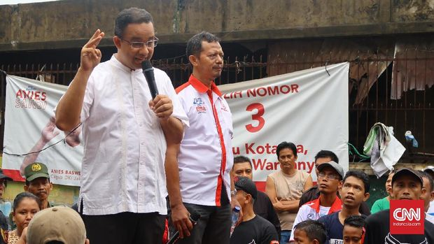 Anies Baswedan saat berkampanye dalam Pilkada DKI 2017 di Karang Anyar, Sawah Besar, Jakarta, beberapa waktu lalu.