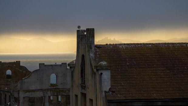 The devil island - Alcatraz at San Francisco, sunset time