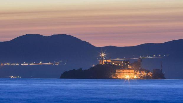 The devil island - Alcatraz at San Francisco, sunset time