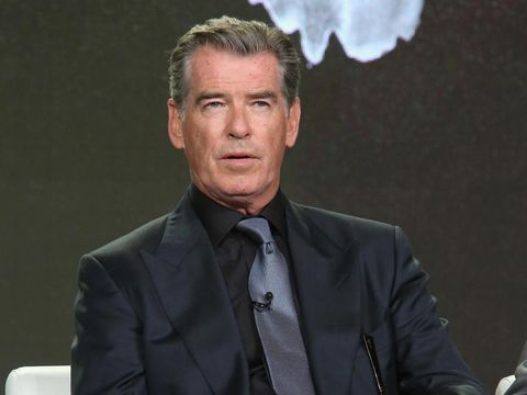 PASADENA, CA - JANUARY 14:  Actor Pierce Brosnan speaks onstage during the AMC presentation of The SON, HUMANS Season 2, Better Call Saul Season 3 on January 14, 2017 in Pasadena, California.  (Photo by Jesse Grant/Getty Images for AMC Networks)
