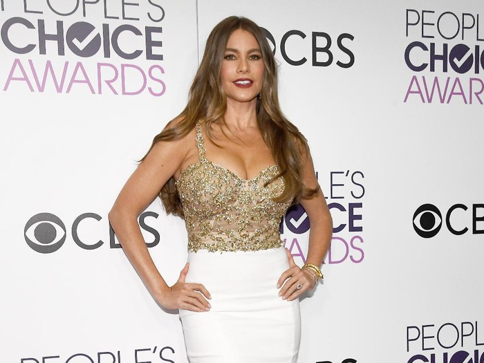LOS ANGELES, CA - JANUARY 18:  Actress Sofia Vergara, winner of the Favorite Comedic TV Actress Award, poses in the press room during the Peoples Choice Awards 2017 at Microsoft Theater on January 18, 2017 in Los Angeles, California.  (Photo by Kevork Djansezian/Getty Images)