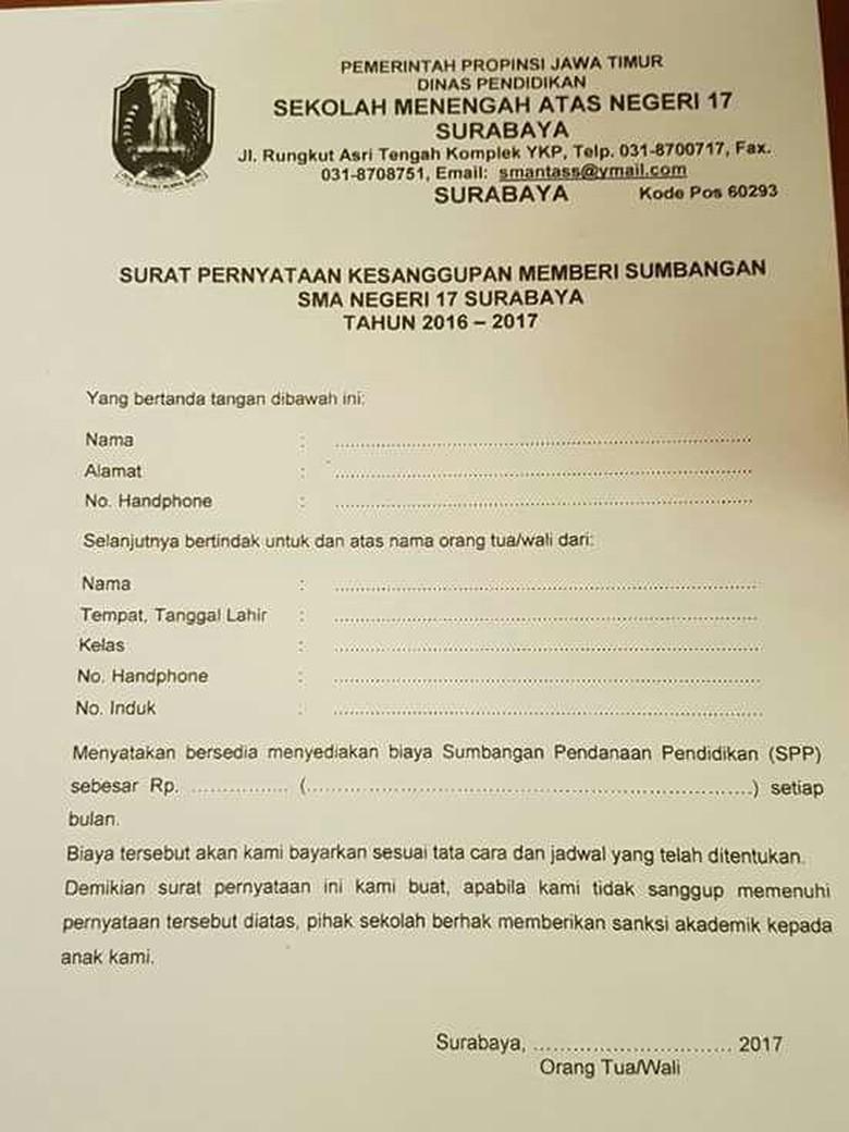 Sumbangan Disertai Sanksi Di Sman 17 Surabaya Ini Jawaban Kepsek Handphone