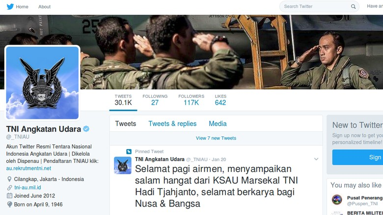 Sosok di Balik Akun Twitter Gaul TNI AU yang Masih Misterius
