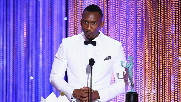 LOS ANGELES, CA - JANUARY 29:  Actor Mahershala Ali accepts Outstanding Performance by a Male Actor in a Supporting Role for Moonlight onstage during The 23rd Annual Screen Actors Guild Awards at The Shrine Auditorium on January 29, 2017 in Los Angeles, California. 26592_014  (Photo by Kevin Winter/Getty Images )
