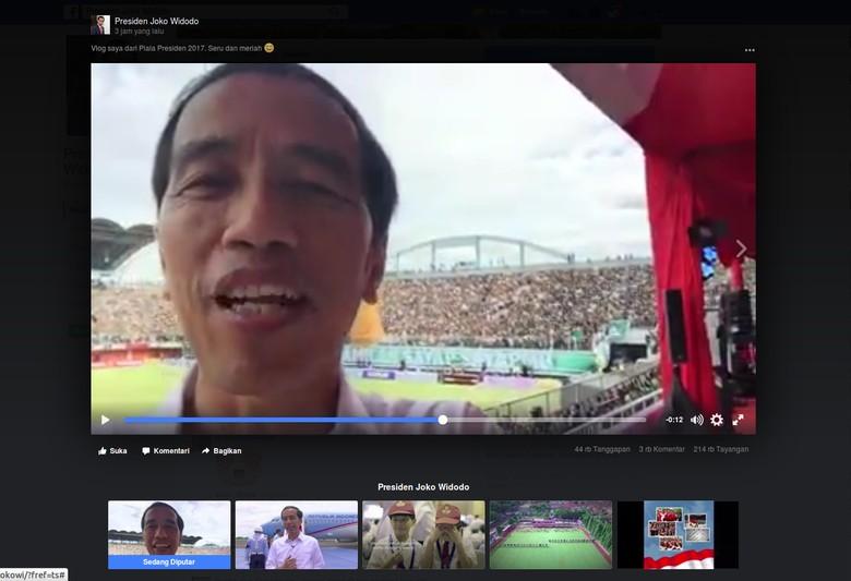 Jokowi nge-Vlog di Arena Piala Presiden 2017