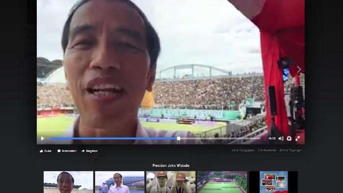 Foto: Jokowi Bikin Vlog (Screenshot Facebook)