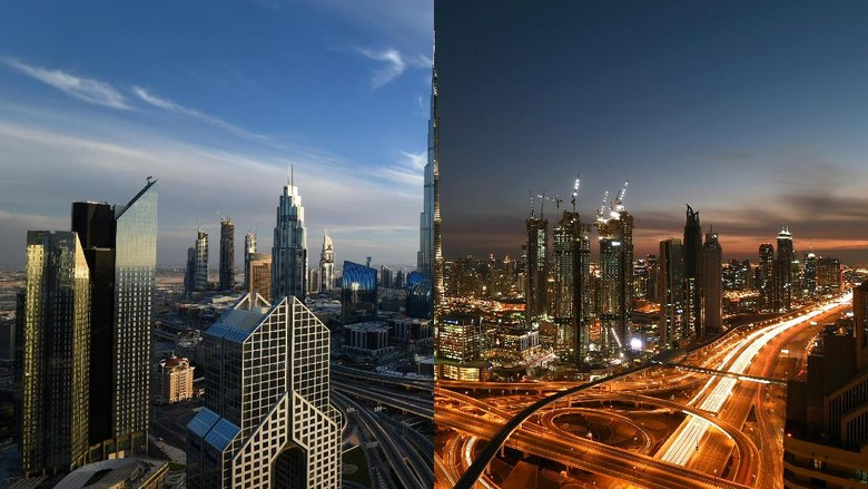 Lanskap Kota Dubai di Malam dan Siang Hari