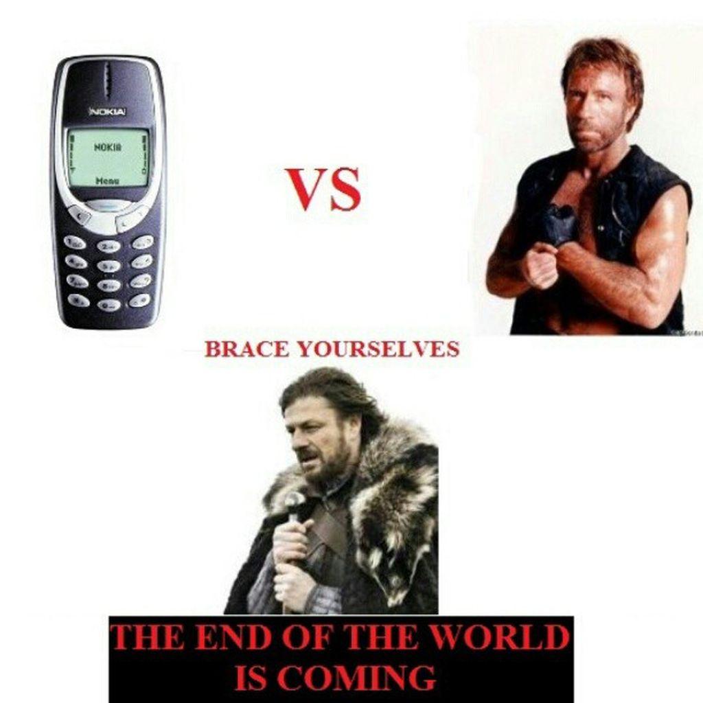 Digambarkan di sini kalau nokia 3310 tanding melawan jagoan Chuck Norris, maka akhir dunia sudah dekat. Foto: Istimewa