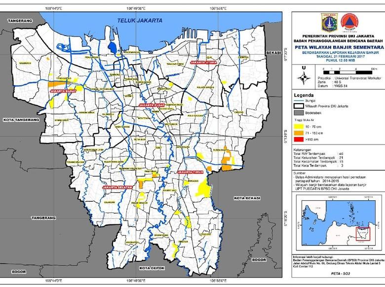 Ini Data dan Peta Sebaran Banjir di Wilayah Jakarta