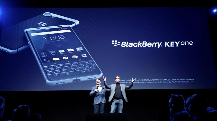 The new BlackBerry Key One is presented before the Mobile World Congress in Barcelona, Spain February 25, 2017. REUTERS/Albert Gea