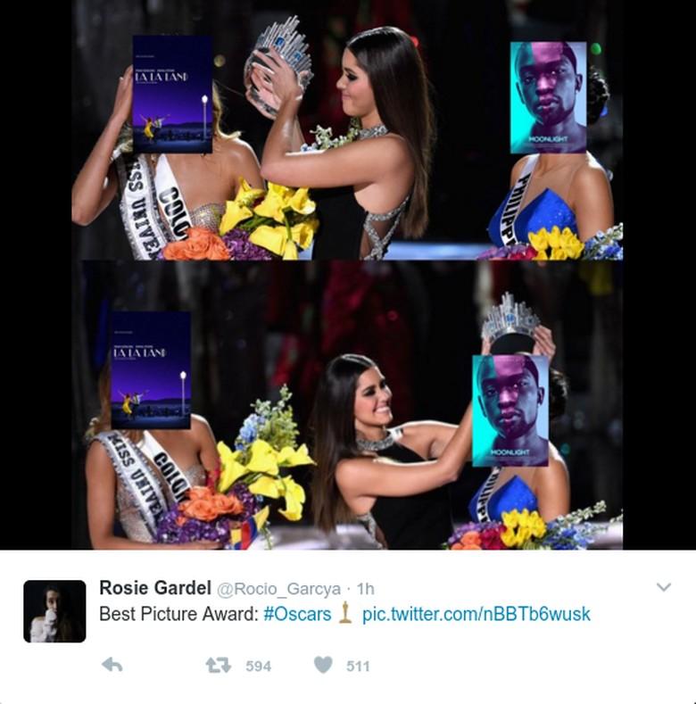 Insiden salah mengumumkan pemenang Oscar tersebutlangsung dikaitkan netizen dengan saat pengumuman pemenang Miss Universe 2016. (Foto: Dok. Twitter)