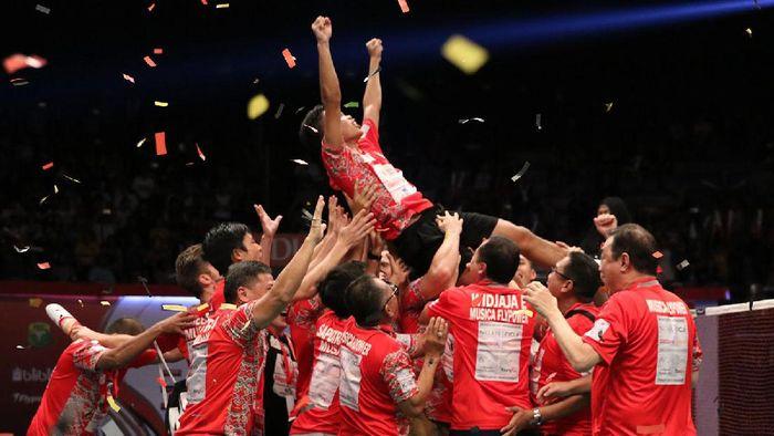 Musica Champion saat menjadi juara Superliga Badminton 2017.  (Istimewa/Humas Superliga Badminton)