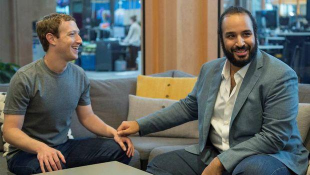 Pangeran Mohammed dengan Mark Zuckerberg.