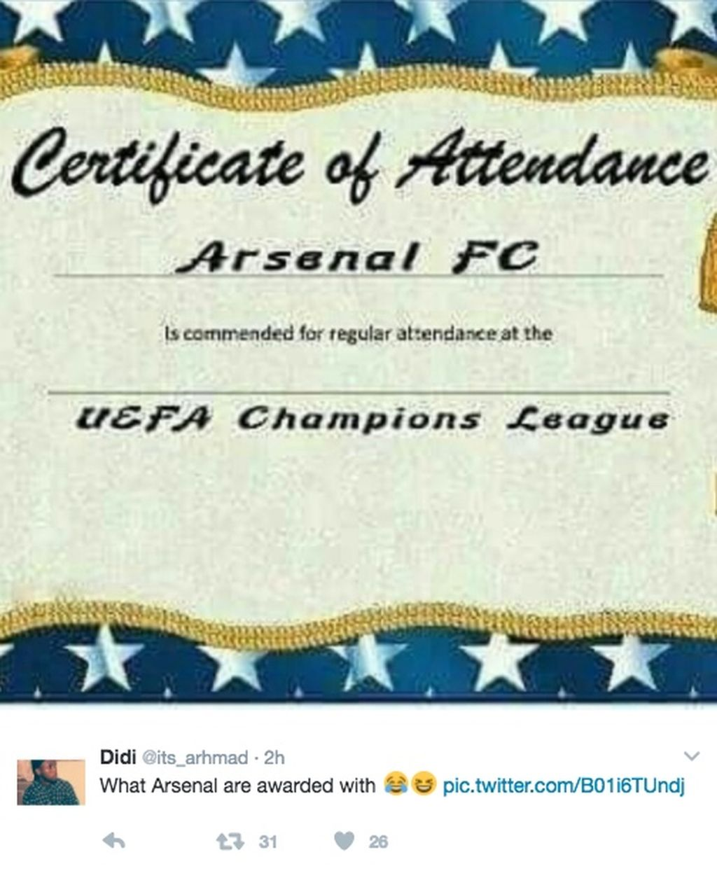 Kembali tersingkir, Arsenal pun dianggap selalu jadi penggembira di Liga Champion. Foto: istimewa