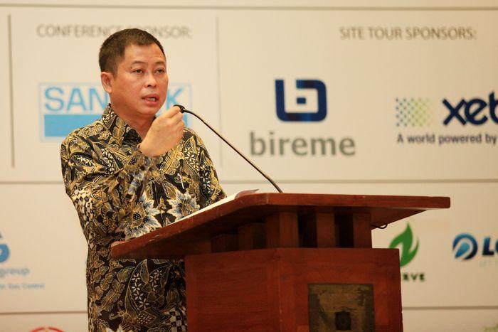 Menteri ESDM, Ignasius Jonan saat berbicara di acara pameran gas bumi yang digelar di Hotel Dharmawangsa, Jakarta, Selasa (14/3/2017). Dok, PGN.