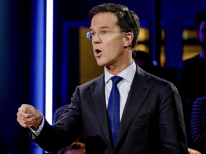 Dutch Prime Minister Mark Rutte of the VVD Liberal party attends a debate in The Hague, Netherlands, March 14, 2017.       REUTERS/Robin Van Lonkhuijsen/Pool