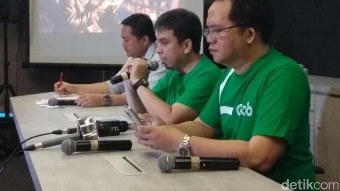 Foto: Grab dalam jumpa pers tentang revisi aturan taksi online (Foto: Audrey Santoso/detikcom)