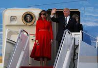 Foto: Penampilan Melania Trump yang Mencuri Perhatian dengan Gaun Merah