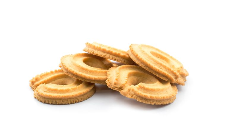 Close up of vanilla ring butter cookies or biscuit. Isolated on white background