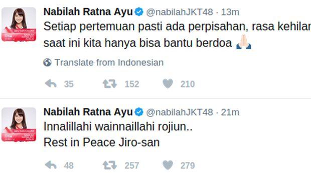 Ucapan Nabilah di Twitter.
