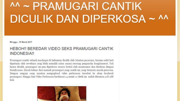 Gambar 2, Situs blogspot yang telah dipersiapkan pembuat hoax
