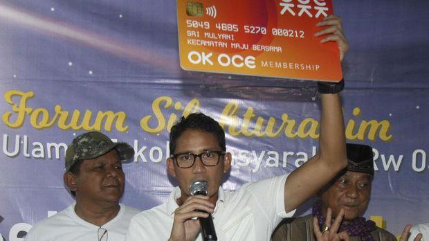 Sandiaga Uno saat menyosialisasikan OK OCE dalam kampanye Pilkada DKI 2017.