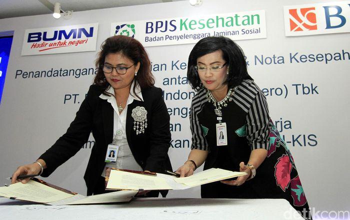 Hadir pada acara tersebut Direktur Hubungan Kelembagaan dan Transaksional Perbankan BNI Adi Sulistyowati bersama Direktur Kepesertaan dan Pemasaran BPJS Kesehatan Andayani Budi Lestari.
