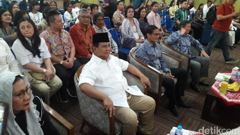 Prabowo Hadiri Deklarasi Komunitas Kristiani untuk Anies-Sandi