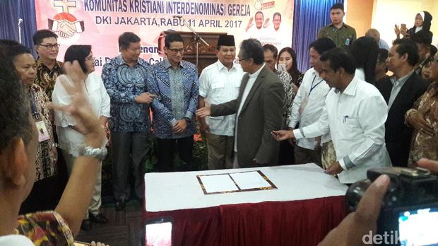 Prabowo hadiri deklarasi Komunitas Kristiani untuk Anies-Sandi /