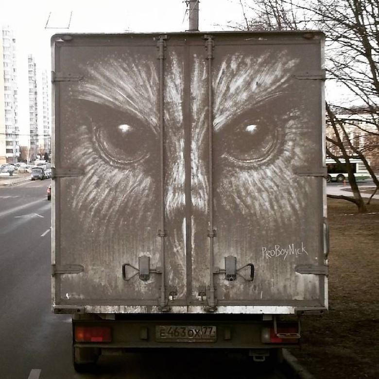 Debu Mobil Jadi Karya Artistik!