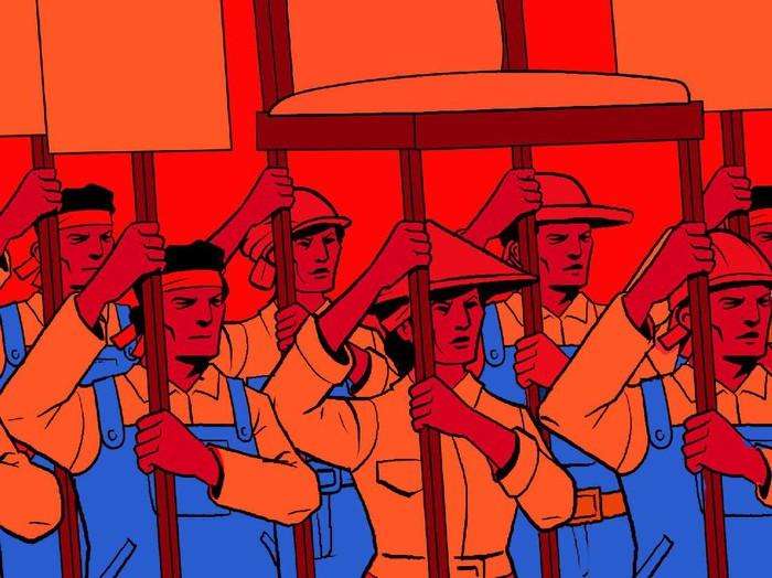 ilustrasi kolom bertema peringatan hari buruh