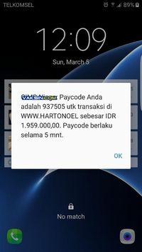 Gambar 3, OTP persetujuan transaksi yang dikirimkan ke ponsel via USSD