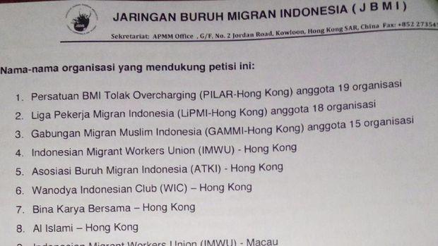 Buruh Migran Indonesia menyampaikan petisi yang berisi 6 poin kepada Presiden Jokowi.