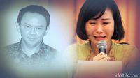 Veronica Tan Menangis saat membacakan surat Ahok dari penjara, Selasa (23/5/2017)