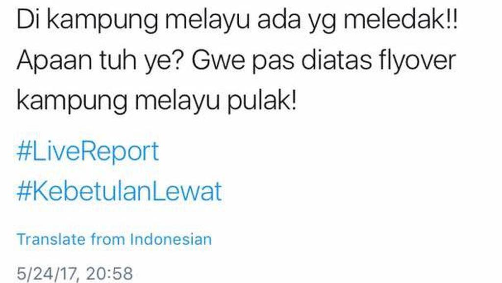 Bom Kampung Melayu Pertama Dilaporkan Netizen Pukul 20.58 WIB
