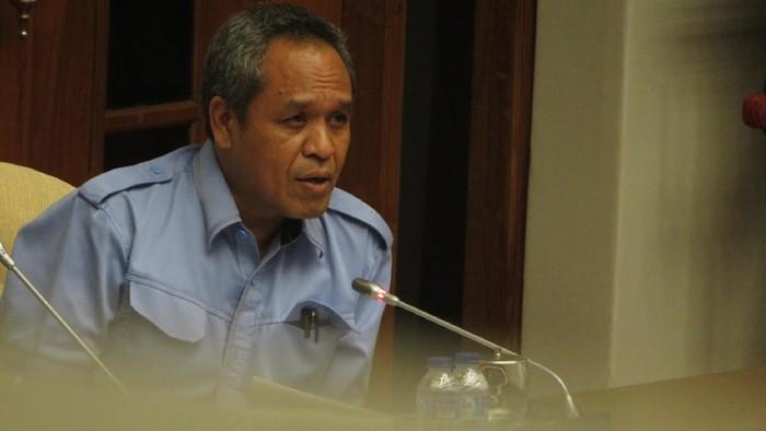 Wakil ketua Komisi III DPR Benny K Harman saat memimpin Pansus RUU Pemilu