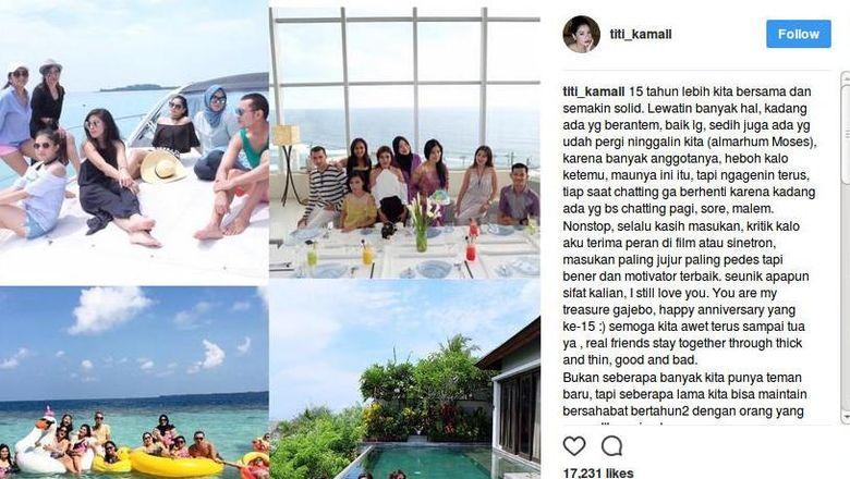 Titi Kamal juga punya perkumpulan yang dinamai Gajebo. Ini posting-an kebersamaan mereka setelah bertahun-tahun kumpul. Foto: Instagram @titi_kamall/@balqis_farah