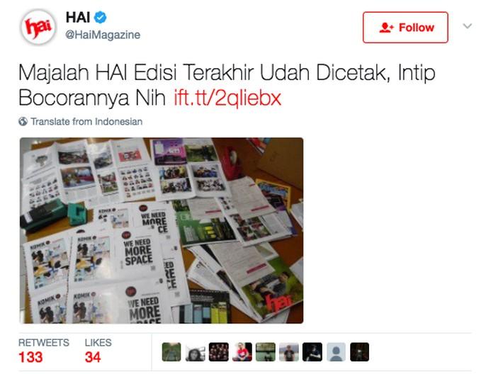 Pengumuman edisi cetak majalah Hai tutup. Foto: istimewa