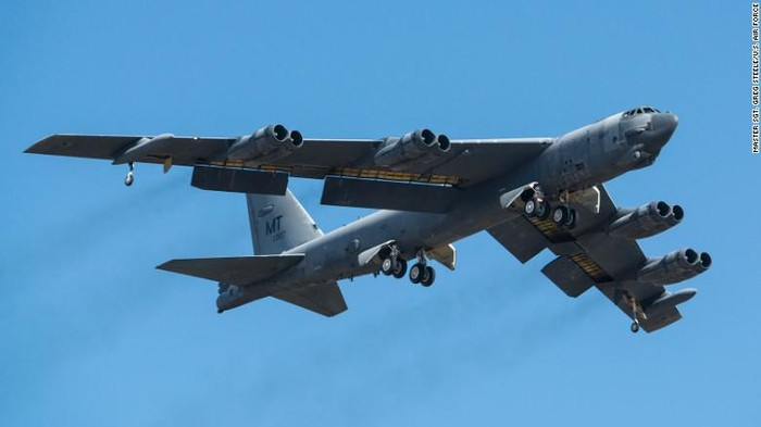 B-52 Stratofortress – The first versions of this long-range heavy bomber flew in 1954. A total of 744 were built, the last of those in 1962. The Air Force maintains 58 B-52s in the active force and 18 in the Reserve. A single B-52 can carry 70,000 pounds of mixed munitions, including bombs, missiles and mines. The eight-engine jets have a range of 8,800 miles. (Master Sgt Greg Steele/US Air Force)
