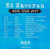 Jadwal konser Asia Ed Sheeran pada 2017 lalu.