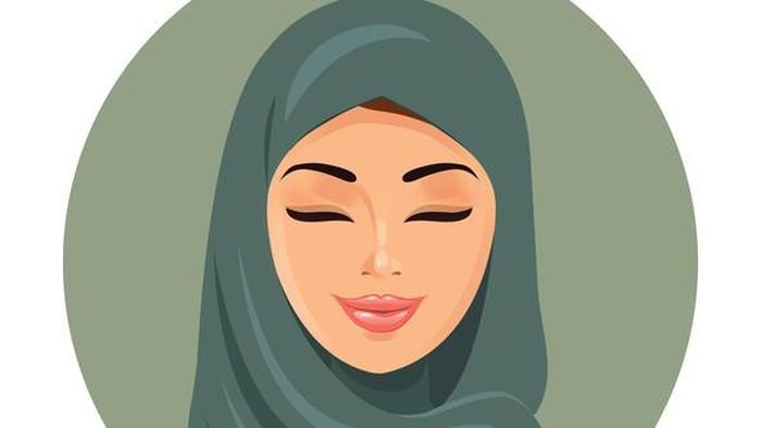Ilustrasi wanita berhijab hijab