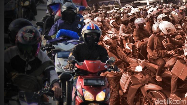 Naik motor Foto: ilustrasi mudik naik motor