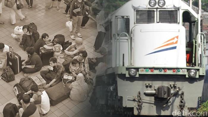 ilustrasi mudik/ antrean di stasiun kereta