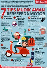 Infografis tips aman naik motor untuk mudik