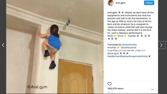 Arat belum genap 4 tahun, tapi punya ketrampilan seperti ninja (Foto: viral IG @arat.gym)