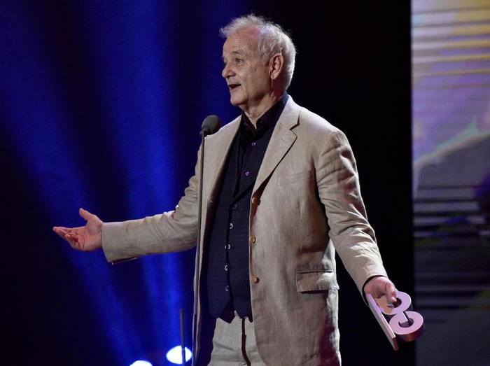 BERLIN, GERMANY - NOVEMBER 10:  Bill Murray speaks n stage at the GQ Men of the year Award 2016 show (german: GQ Maenner des Jahres 2016), after accepting the Legend award at Komische Oper on November 10, 2016 in Berlin, Germany.  (Photo by Clemens Bilan/Getty Images for GQ)
